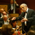 Lawrence K. Ho –– – 074066.CA.1128.SWED.5.LKH. Pierre Boulez conducting the LA Philharmonic at the Walt Disney Concert Hall. Pic. shows conductor Pierre Boulez conducting Mahler's Adagio from Symphony @@#10.